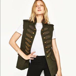 Zara Green Military Style Vest Size M